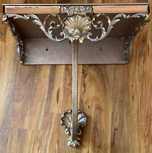 Beautiful Vintage Retro gold peach mirror Atsonea Half Moon Console Shelf table