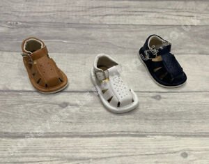 Baby Boys Spanish Leather Sandals Tan White Navy