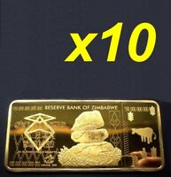 10 Pieces Zimbabwe 100 Trillion Dollars Gold Bullion Bar (Zm1G10)