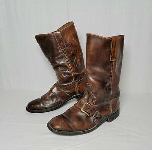 Vintage 60's Motorcycle Biker Engineer Buckle Men's Boots Size 9.5 D Brown Rare