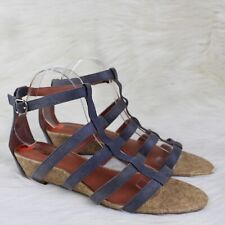 Lucky Brand Lanser Gladiator Wedge Sandals Blue Leather Ankle Strap Size 9.5
