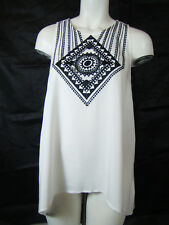 Lovestitch Love Stitch White Black Aztec Blouse Tank Top Shirt L Large NEW NWT