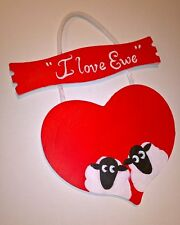 Valentines day gift heart shape painting sheep I love you personalised unique