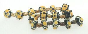 OliveStuart Handmade Lampwork Beads 15 amber/black/cream round
