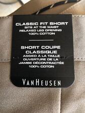 NWT VAN HEUSEN Size 34 Mens Flat Front Khaki 100% Cotton CLASSIC FIT Chino Short