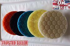 "Set of 5x 6"" 6inch 150mm Hex Logic Type Polishing Pads DA Rotary Polisher *UK*"