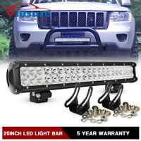 "20"" Led Light Bar For Jeep Grand Cherokee/Commander Front Bull Bar Bumper Grill"