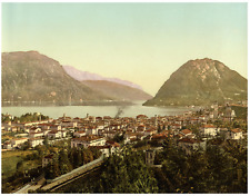 Ticino. Lugano. Veduta generale.  PZ vintage photochromie, photochromie, vinta