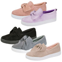 Womens 3D Bow Skater Shoes Casual Pumps Slip On Trainers Sneakers Plimsolls Size