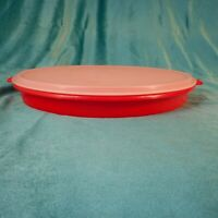 Vintage Tupperware Party Lazy Susan 405 Divided Serving Tray w/ Lid Red