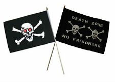 "12x18 12""x18"" Wholesale Combo Pirate Red Eyes Skull & Death Zone Stick Flag"