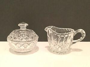 Vintage Creamer Sugar Bowl w/Lid Lead Crystal Clear Glass Diamond Thumbprint Cut