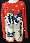 Designers Originals Studio Ugly Christmas Skating Penguin Sweater Pullover Large