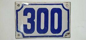 Genuine ISRAELI vintage enamel porcelain house number 300 street House sign #300