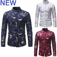Floral Stylish Top Mens Dress Shirts Casual Shirt Long Sleeve Luxury Slim Fit