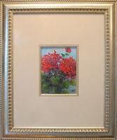"""Geranium. Original framed oil on paper 6""""x8"""" impressionistic painting."""