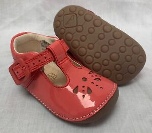 BNIB Clarks Girl Little Weave Coral Patent Leather Cruising First Shoes E/F/G/H