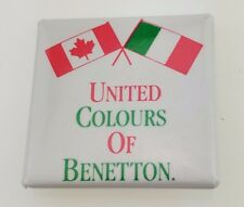 Vintage United Colours of Benetton Button Canada Italy Flag Clothing Designer