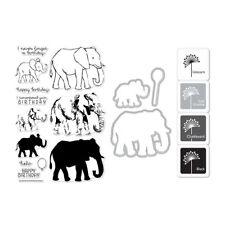 "Hero Arts ""ELEPHANT"" Clear Stamps + Frame Cuts Dies + Mini Ink Pad Set Bundle"
