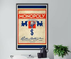 """1936 MONOPOLY Game Box POSTER! (up to 24"""" x 36"""") - Made in USA - Vintage - Art"""