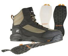 Korkers Greenback Wading Boots with Kling-On soles + Felt soles, Size 12 - New