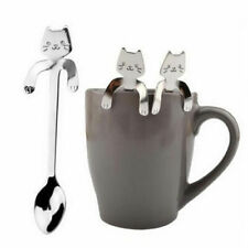 Cute 3D Cat Ice Cream Cocktail Teaspoons Coffee Soup Tea Stainless Steel Spoons