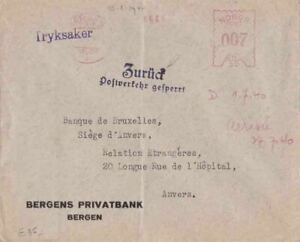 Norway 1940  from Occupied with Zuruck Post Office Traffic to Belgium  {Below}