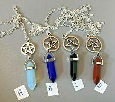 1 x Crystal Quartz Pendulum with pentacle pendant necklace Reiki Healing Wiccan