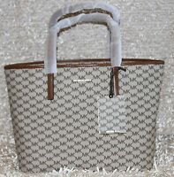 MICHAEL KORS Emry Large Logo Tote Signature MK Bag Purse Natural $328