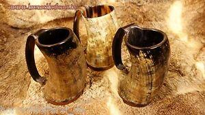 Hornbecher aus Horn ca 300 - 490 ml mit Henkel Methorn Trinkhorn Germanenhorn