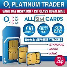 O2 Sim Card Pay As You Go £10 Bundle 3 in1 Micro Nano PAYG 3GB DATA ROLLOVER 02