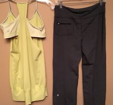 Lululemon 6 Woman No Limits Tank & Gray Heathered Pants Back Zip Pocket Lot Of 2