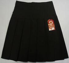 Girls Teens School Work Uniform Pleated Skirt Black Zip Long 19 Inch 5% Spandex