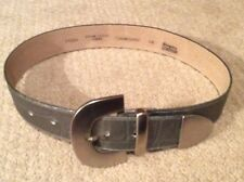 Carol Little all genuine leather belt leather - color metallic pewter size Small