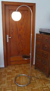 Stehlampe Bogen Standleuchte Tisch Stahlrohr Chrom Weiß Kugel Art Deco Bauhaus