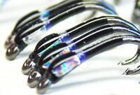 3 X Black buzzers with UV neck silver hollo cheeks size 12 trout fishing buzzers