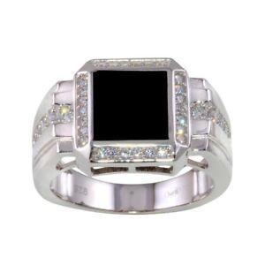Herren Sterlingsilber Quadrat Ring W / Onyx & Cubic Zirkonia Steine
