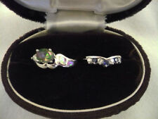 Lot 2 silver tone costume rings Avon V white & blue RS & oval watermelon RS