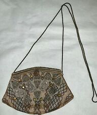 Vintage Hashimoto Micro Beaded Bronze Taupe Evening Bag Purse Metal Chain Gold