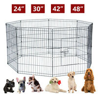 48''/42''/30''/24'' Pet Playpen Dog Cage Kennel Crate Metal Cage Enclosure Fence