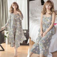 3PCs Womens Chiffon Sleepwear Night Gown Pajamas Pyjamas Set Loungewear Summer