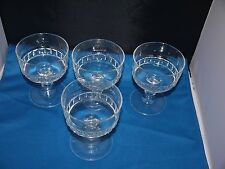 retro 1970s set of 4 pressed clear glass LUMINARC French dessert/sundae dishes