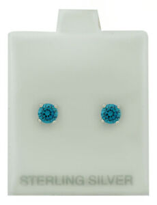 BLUE TOPAZ 1.14 Cts STUD EARRINGS .925 Sterling Silver * NEW WITH TAG *