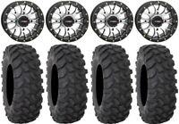 """System 3 ST-3 Machined 14"""" Wheels 28"""" XTR370 Tires Kawasaki Teryx Mule"""