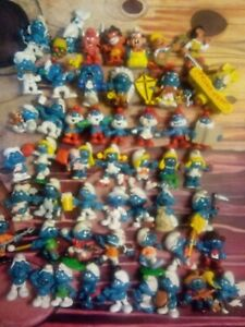 Vintage Lot 49 Smurfs Peyo Schleich PVC Figures Some Rare 1970's & 1980's