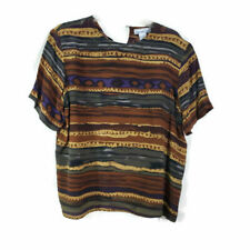 Anna and Frank Womens Silk Blouse Sz M Brown Striped Short Sleeves Shoulder Pads