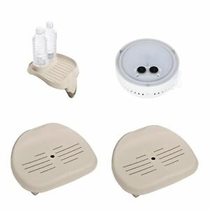 Intex LED Light For Spa w/ Cup Holder And Refreshment Tray w/ Seat For Spa(2 Pk)