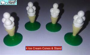 LEGO 4 Ice Cream Scoops Cones & Stand Vanilla Food Dessert Snack Minifigure
