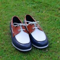 Leather Shoes Men's Handmade Casual Blue & White Genuine Calf Leather Deck Shoes