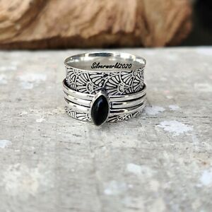 Black Onyx Spinner Ring 925 Sterling Silver Plated Handmade Ring Size 10 gt234